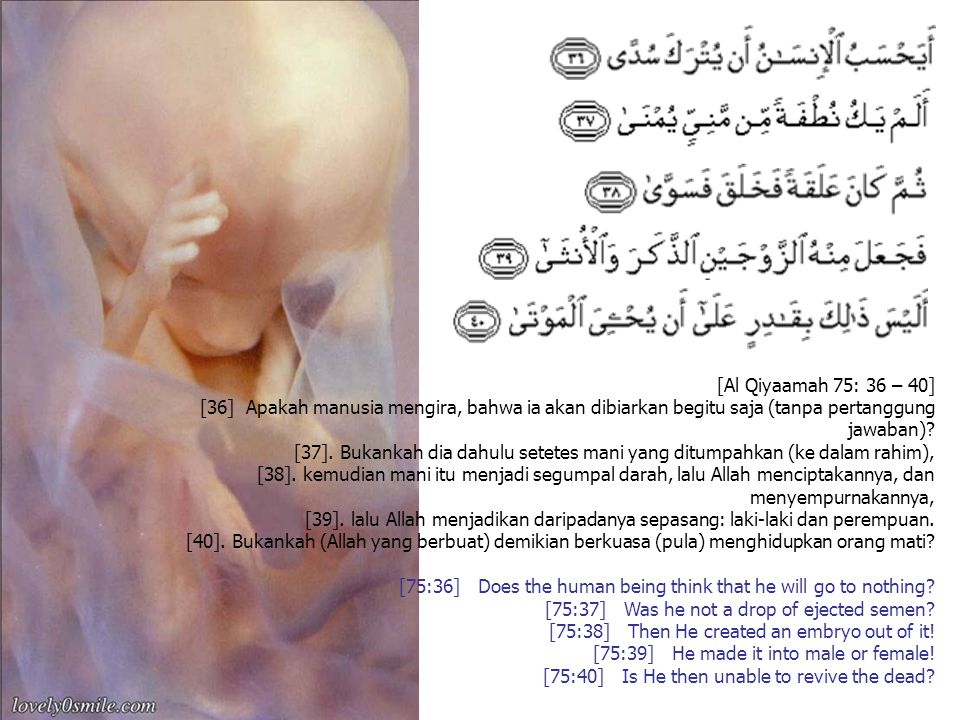 [Al Qiyaamah 75: 36 – 40]